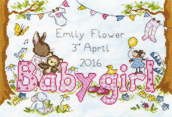 click here to view larger image of Bunny Love - Girl (counted cross stitch kit)