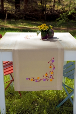 click here to view larger image of Playful Flowers Table Runner (stamped cross stitch kit)