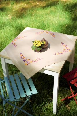 click here to view larger image of Playful Flowers Tablecloth (counted cross stitch kit)