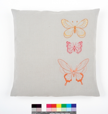 click here to view larger image of Orange Butterflies Embroidery Cushion (stamped cross stitch kit)