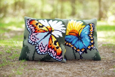click here to view larger image of Butterfly and Yellow Flower Cushion (Right) (needlepoint)