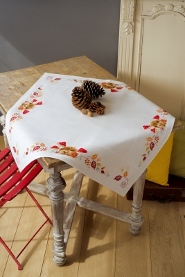 click here to view larger image of Hedgehog and Mushrooms Tablecloth (counted cross stitch kit)