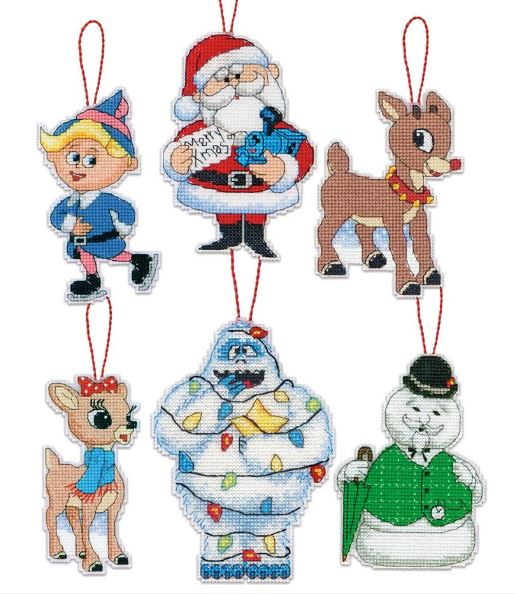 click here to view larger image of Rudolph Ornaments (counted cross stitch kit)