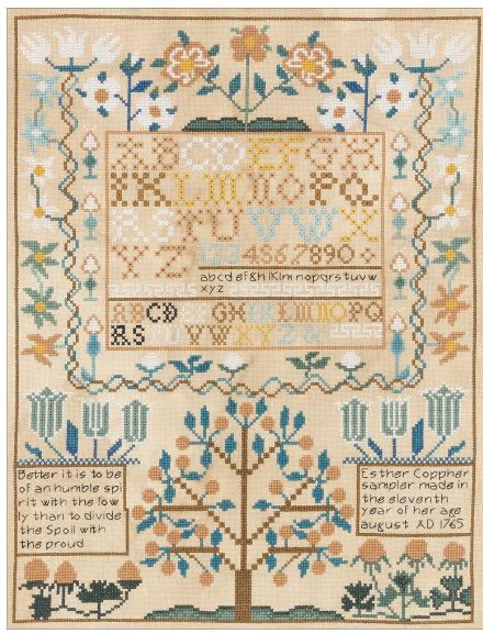 click here to view larger image of 1765 Esther Copphers Sampler (counted cross stitch kit)