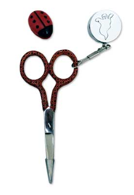 click here to view larger image of Ladybug Reel Scissors Set - Silver (accessory)