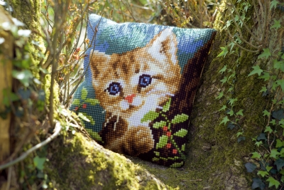 click here to view larger image of Cat On A Tree Cushion (needlepoint)