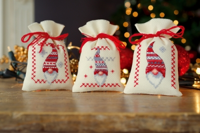 click here to view larger image of Christmas Gnomes Bags (Set of 3) (counted cross stitch kit)