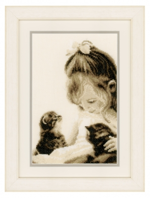 click here to view larger image of Girl and Kittens (counted cross stitch kit)