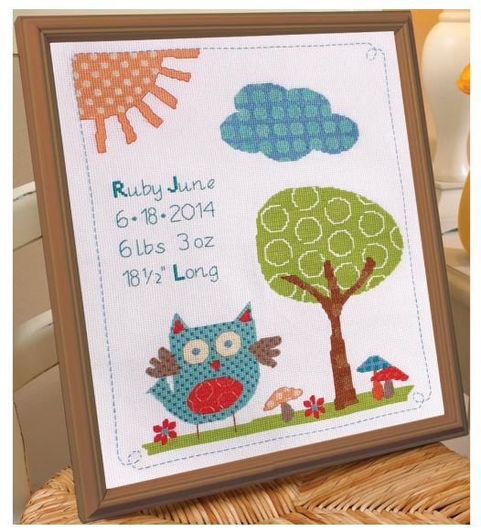 click here to view larger image of Woodland Baby Birth Record (counted cross stitch kit)