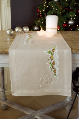 click here to view larger image of Village In The Snow Table Runner (stamped cross stitch kit)
