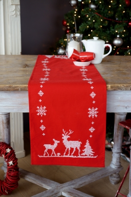 click here to view larger image of Christmas Deer Table Runner (counted cross stitch kit)