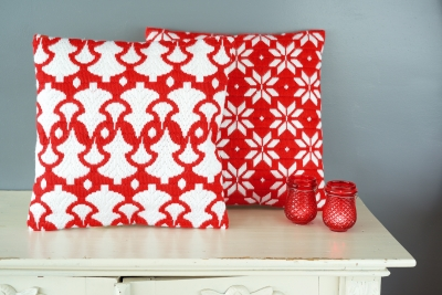 click here to view larger image of Christmas Trees Cushion (left) (needlepoint)