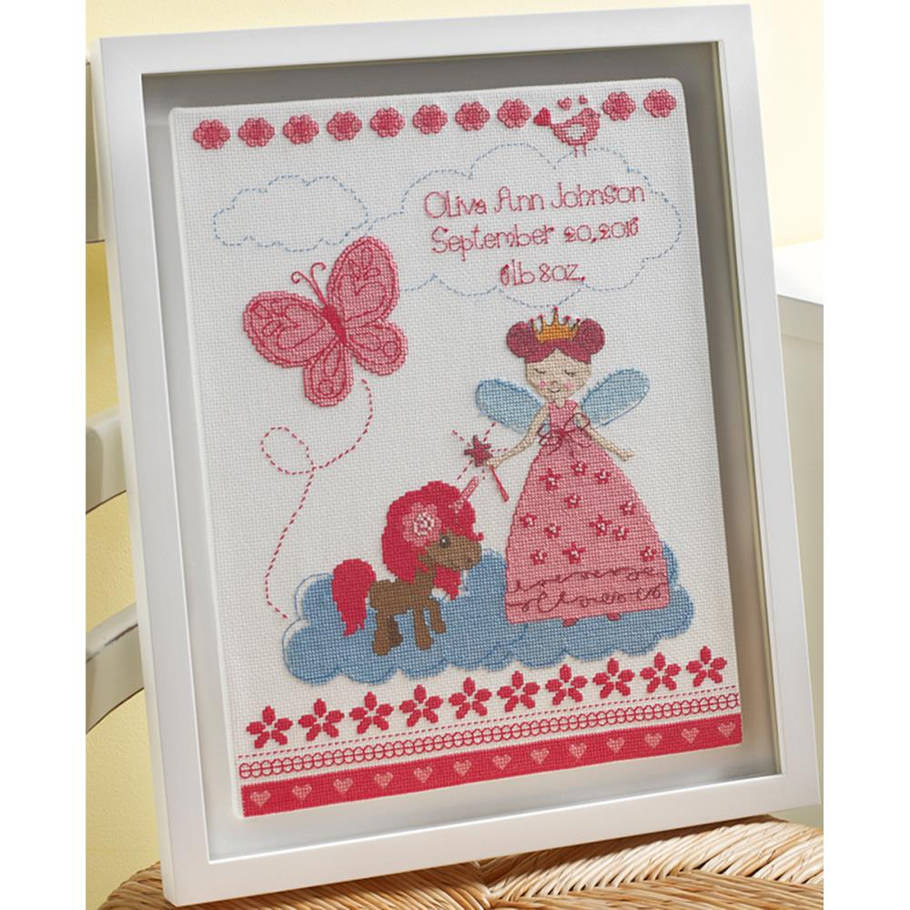 click here to view larger image of Fairytale Princess Birth Record (counted cross stitch kit)