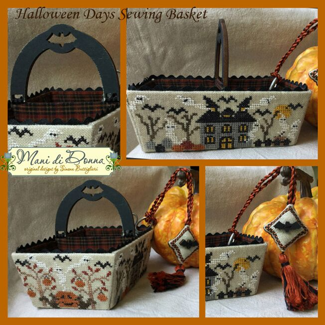 click here to view larger image of Halloween Days Sewing Basket (chart with charms/buttons)