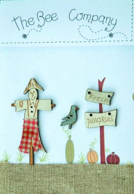 click here to view larger image of Scarecrow and Fresh Pumpkin Wooden Buttons (buttons)