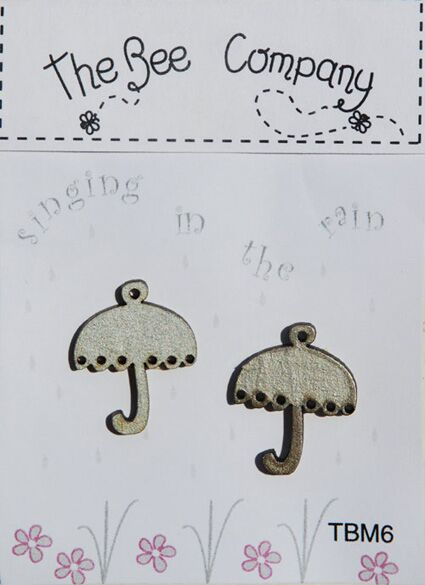 click here to view larger image of Mini Umbrellas Buttons - Metallic Grey (buttons)