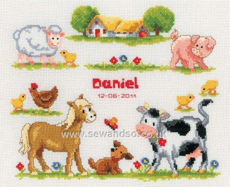 click here to view larger image of Farmyard Animals Birth Record (counted cross stitch kit)