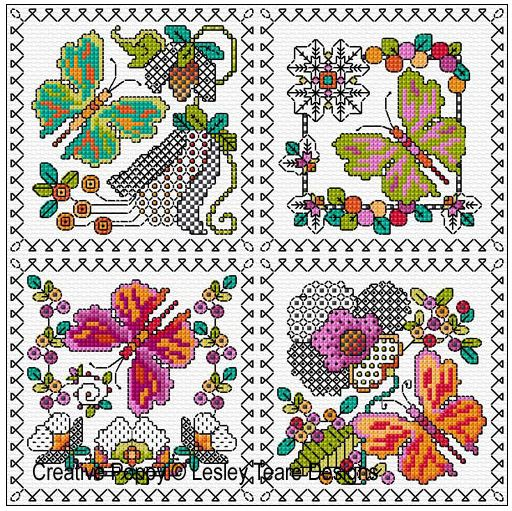 click here to view larger image of Blackwork Butterfly Cards (chart)