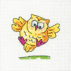 click here to view larger image of Flying Owl - Simply Heritage Cards (set of 3) (counted cross stitch kit)