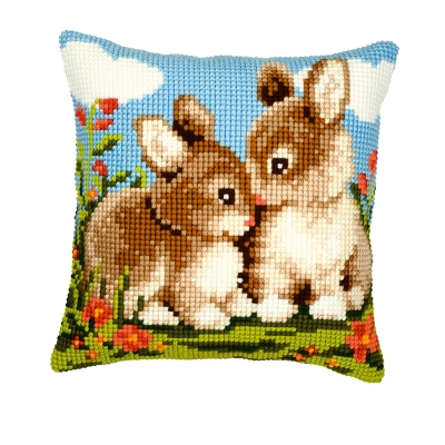 click here to view larger image of Bunnies Cushion (needlepoint)