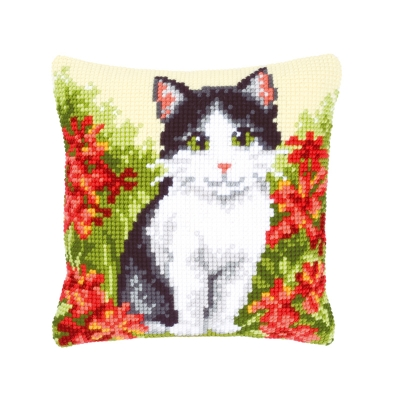 click here to view larger image of Cat In Flower Field Cushion (needlepoint)