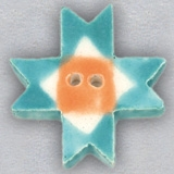click here to view larger image of Turquoise Ohio Star Ceramic Button (buttons)