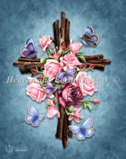 click here to view larger image of Butterfly Rose Cross - No  Background (chart)