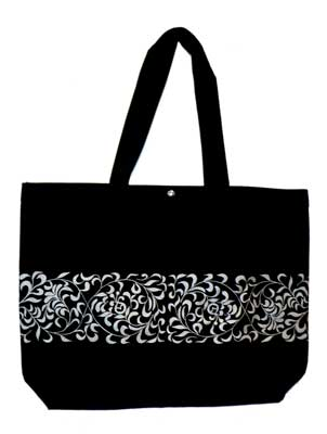 click here to view larger image of Canvas Tote - Black With Silver (accessory)