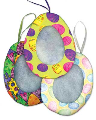 click here to view larger image of Egg Ornament Tuck Frame (assorted fabrics) - 2.75in x 2in (Finishing Products)