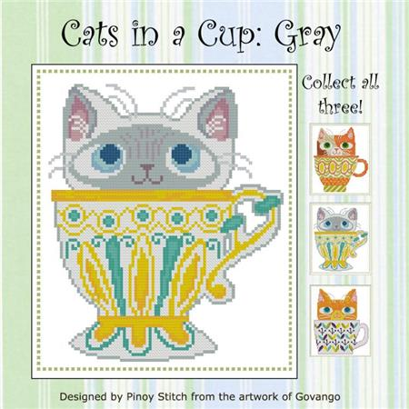 click here to view larger image of Cats In A Cup - Gray (chart)