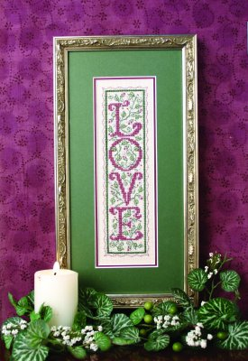 LOVE Sampler - click here for more details about counted cross stitch kit