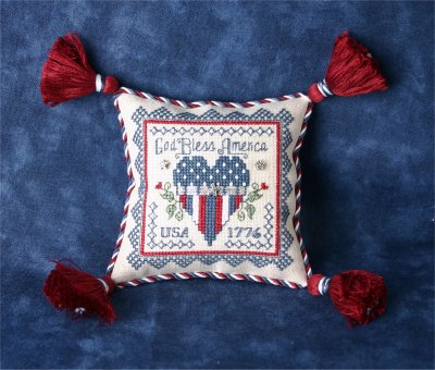 click here to view larger image of Patriotic Pincushion (chart with charms/buttons)