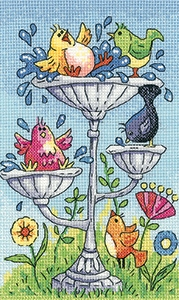 click here to view larger image of Birdbath - Birds Of A Feather (27ct) (counted cross stitch kit)