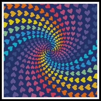 click here to view larger image of Abstract Rainbow Heart Design (chart)