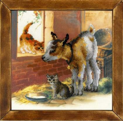 click here to view larger image of Goatling and Kittens (stamped cross stitch kit)