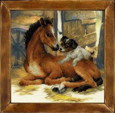 click here to view larger image of Foal and Puppy (stamped cross stitch kit)