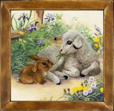 click here to view larger image of Lamb and Rabbit (stamped cross stitch kit)