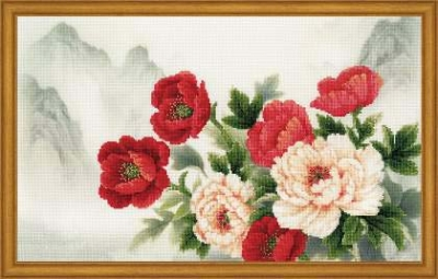 click here to view larger image of Oriental Bouquet (stamped cross stitch kit)