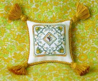 click here to view larger image of Sunshine Yellow Pincushion - Limited Edition (chart with charms/buttons)