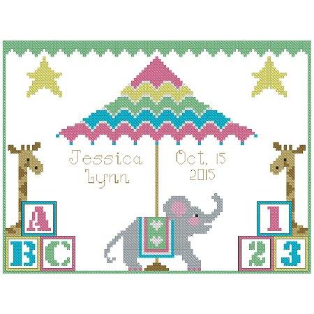 click here to view larger image of Big Top Birth Announcement Sampler (chart)