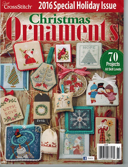 click here to view larger image of Just Cross stitch - 2016 Christmas Ornaments (magazines)