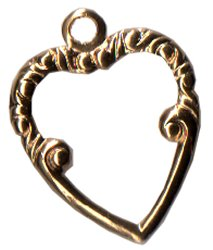 click here to view larger image of Charm Top Ornate Heart - Gold (charm)