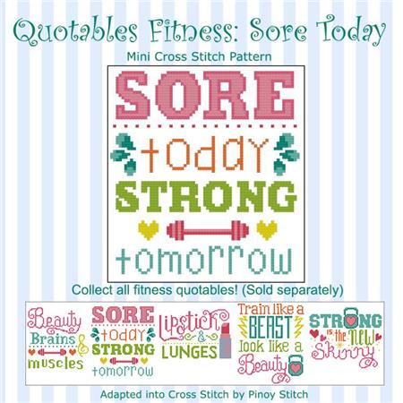 click here to view larger image of Quotables Fitness - Sore Today (chart)