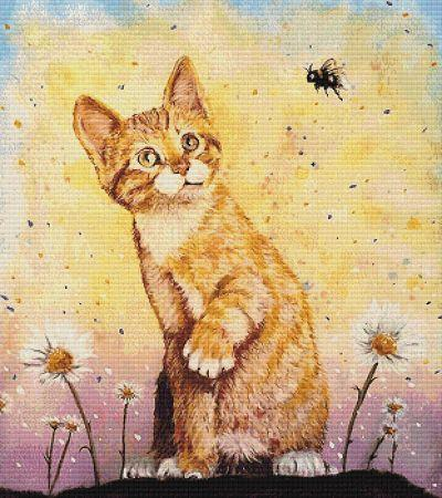 Kitten With Bee - click here for more details about chart