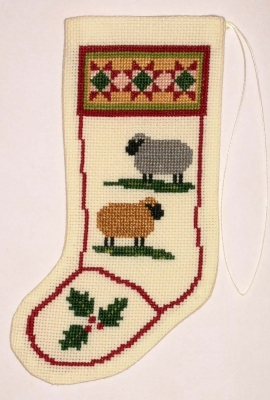 click here to view larger image of Colonial Sheep Stocking Ornament (counted cross stitch kit)