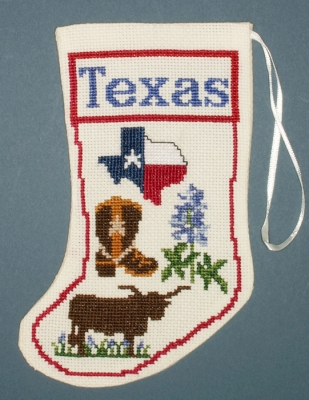 Texas Stocking Ornament - click here for more details about counted cross stitch kit