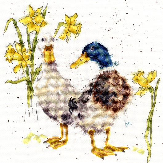 Ducks and Daffs - click here for more details about counted cross stitch kit