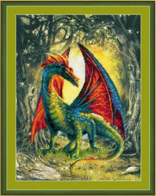 click here to view larger image of Forest Dragon (stamped cross stitch kit)