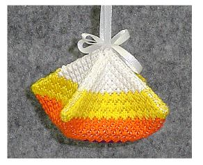 click here to view larger image of Halloween Candy Corn Puff (needlepoint)