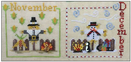 click here to view larger image of Year With The Scarecrows, A - November and December (chart with charms/buttons)